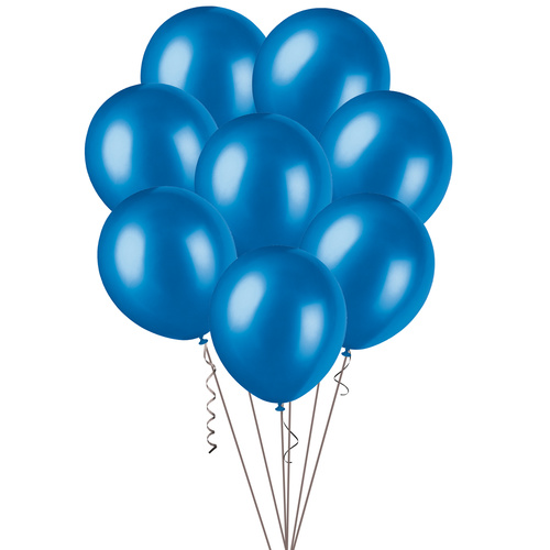 30cm Blue Metallic Balloons 25 Pack