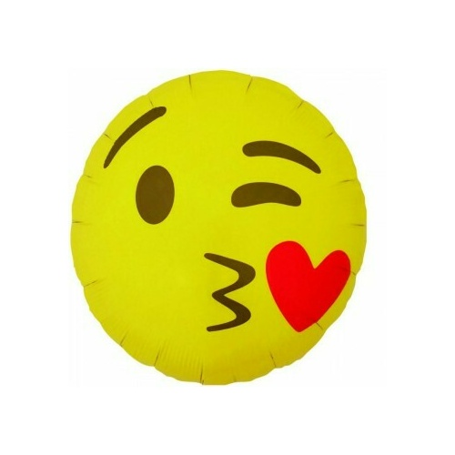 45cm Emoji Kissing & Heart On Cheek Foil Balloon