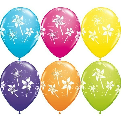 28cm Pinwheels Tropical Assortment Latex Balloon 25 Pack