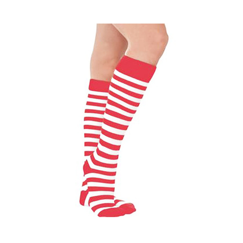 Red & White Striped Knee Highs