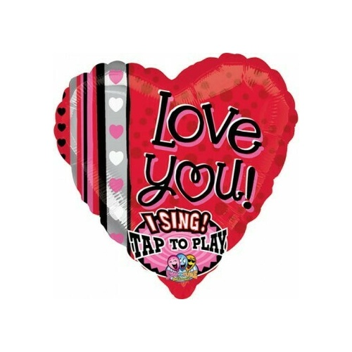 70cm Sing-A-Tune Love You Dots & stripes Foil Balloon