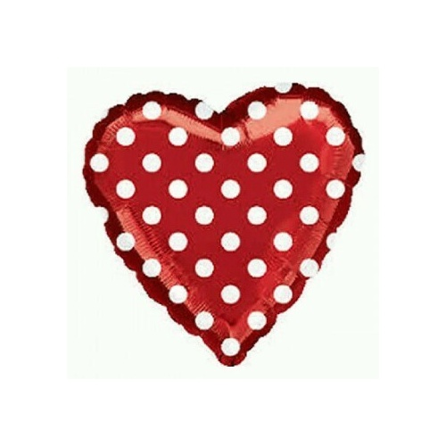 45cm Red & White Polka Dots Un-Packaged Foil Balloon