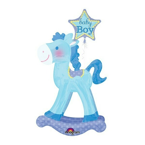 Airwalker Baby Boy Blue Rocking Horse (58cm x 127cm) Foil Balloon